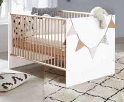 Babyzimmer Babybett Mats in weiß matt und Eiche Sonoma Gitterbett mit Schlupfsprossen und Lattenrost Liegefläche 70 x 140 cm