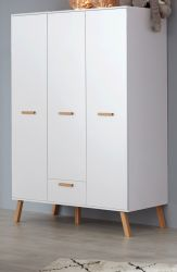 Baby- und Kinderzimmer Kleiderschrank Mats in weiß matt mit Buche massiv 3-türig 130 x 190 cm