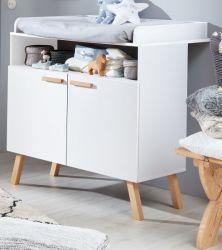 Babyzimmer Wickelkommode Mats in weiß matt mit Buche massiv Babymöbel Wickeltisch 96 x 105 cm