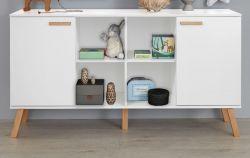 Baby- und Kinderzimmer Sideboard Mats in weiß matt mit Buche massiv Kommode 160 x 86 cm