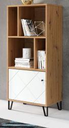 Regal Touch in weiß matt mit Rautenoptik und Eiche Artisan Bücherregal 63 x 136 cm Regalschrank