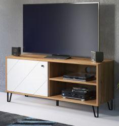 TV-Lowboard Touch in weiß matt mit Rautenoptik und Eiche Artisan TV-Unterteil 123 cm