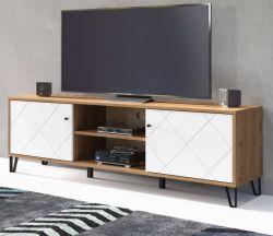 TV-Lowboard Touch in weiß matt mit Rautenoptik und Eiche Artisan TV-Unterteil 183 cm