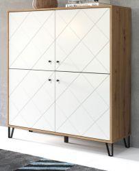 Highboard Touch in weiß matt mit Rautenoptik und Eiche Artisan Anrichte 123 x 136 cm
