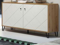 Kommode Touch in weiß matt mit Rautenoptik und Eiche Artisan Sideboard 123 cm