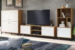 Wohnwand Touch in weiß matt mit Rautenoptik und Eiche Artisan Anrichte Schrankwand 3-teilig 399 x 136 cm