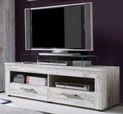 Lowboard TV-Unterteil River white Canyon Pinie weiß Vintage Breite 135 cm