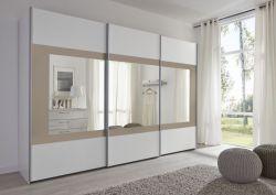 Schwebetürenschrank Kleiderschrank Dekor weiß mit Spiegel Rahmen Sand Breite 301 cm