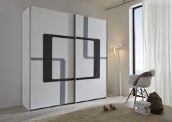 Schwebetürenschrank Kleiderschrank Dekor weiß mit Druck schwarz und Anthazit Breite 202 cm