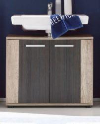 Badezimmer Waschbeckenunterschrank Star in Monument Eiche hell mit Touchwood dunkel Badmöbel 70 x 61 cm