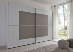 Schwebetürenschrank Kleiderschrank Dekor weiß mit Glas sandfarben Breite 301 cm