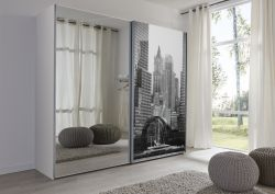 Schwebetürenschrank Kleiderschrank Dekor weiß Spiegeltür Bild Breite 236 cm