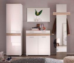 Garderobe komplett Set Mezzo weiß Hochglanz Eiche Sonoma 4-teilig 250 cm
