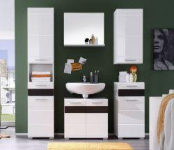 Badezimmer Set Badmöbel Mezzo weiß Hochglanz mit Eiche dunkel 5-teilig 160 x 182 cm