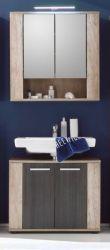 Badmöbel Set 2-teilig Eiche Monument mit Touchwood Badkombination Star 70 cm Spiegelschrank Waschbeckenunterschrank