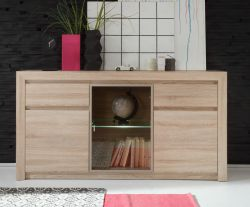 Kommode Anrichte Sevilla Eiche Sonoma hell Sideboard inkl. LED Beleuchtung 164 x 85 cm