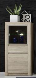 Vitrinenschrank Standvitrine Sevilla Eiche Sonoma hell mit getöntem Glas und LED Beleuchtung
